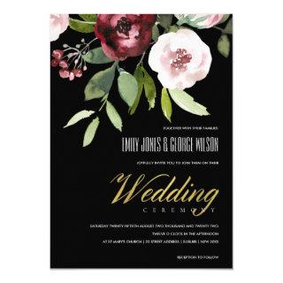 BLACK BLUSH PINK BURGUNDY PEONY FLORAL WEDDING INVITATION
