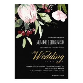 BLACK BLUSH PINK BURGUNDY PROTEA FLORAL WEDDING Invitations