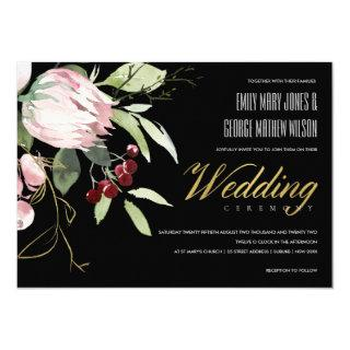 BLACK BLUSH PINK BURGUNDY PROTEA FLORAL WEDDING INVITATION