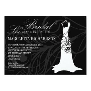 black bridal shower invitations with wedding dress