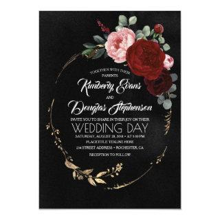 Black Burgundy and Gold Floral Modern Boho Wedding Invitation