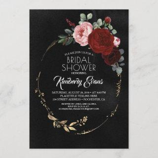 Black Burgundy Red and Gold Floral Bridal Shower Invitations