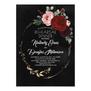 Black Burgundy Red Gold Floral Rehearsal Dinner Invitations