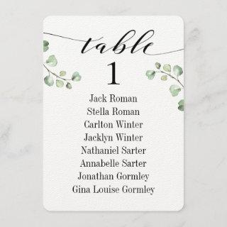 Black Calligraphy Greenery Seating Chart Cards