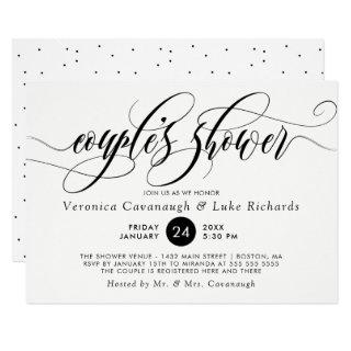 Black Calligraphy Swirls Couple's Shower Invitations