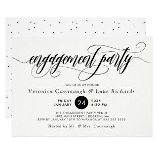 Black Calligraphy Swirls Engagement Party Invitations