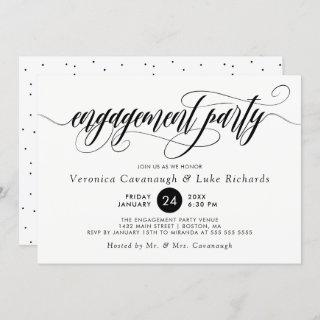 Black Calligraphy Swirls Engagement Party Invitation