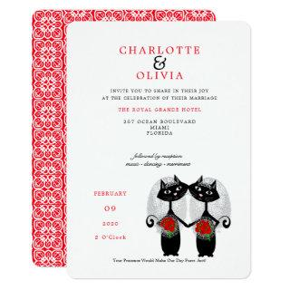 Black Cats Lesbian Marriage Purrr..fect Wedding Invitations