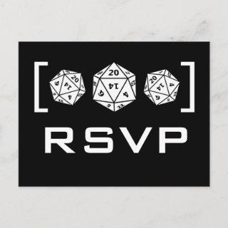 Black D20 Dice Gamer RSVP Postcard