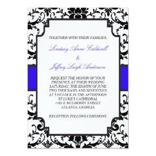 Black Damask Blue Accent Wedding Invitation