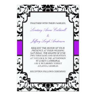 Black Damask Purple Accent Wedding Invitations