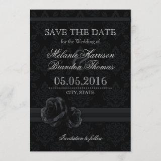 Black damask rose Save The Date cards