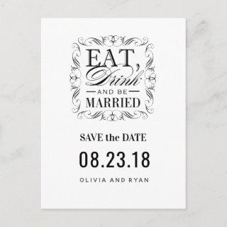Black eat drink and be married announcement postcard