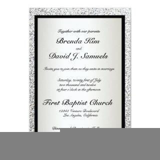 Black Elegant Glitter Wedding Invitations
