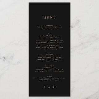 Black Elegant Simple Gold Monogram Wedding Menu