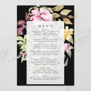 Black Elegant Watercolor Beautiful Wedding Menu
