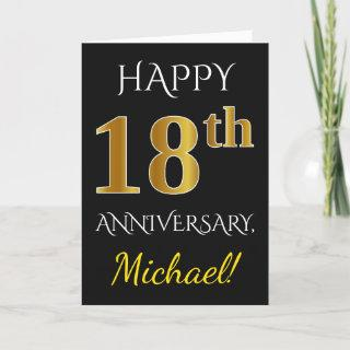 Black, Faux Gold 18th Wedding Anniversary + Name Card
