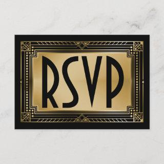 Black & Faux Gold Gatsby Geometric Wedding RSVP