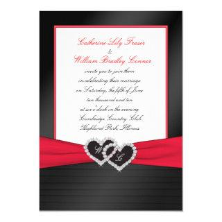 Black FAUX Satin Pleats, Hearts Monogram Invite