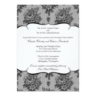 Black French Lace Wedding Invitations