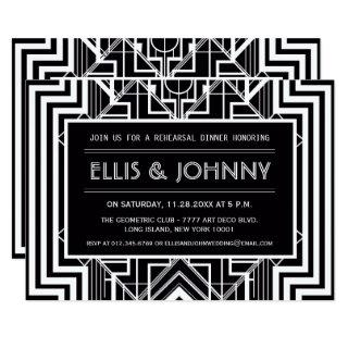 Black Geometric Rehearsal Dinner Invitations