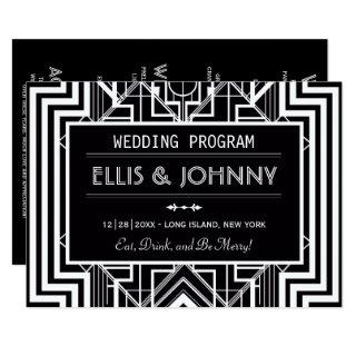 Black Geometric Wedding Programs