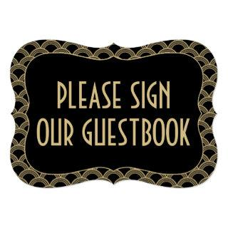 Black & Gold 1920's Gatsby Wedding Guestbook Sign Invitations