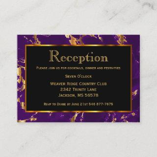 Black, Gold and Purple Marble - Reception Enclosure Card
