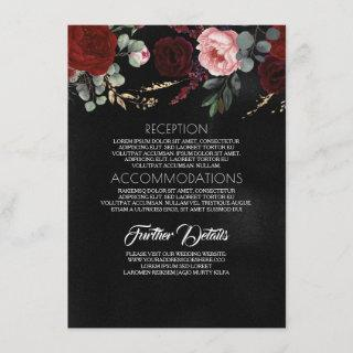 Black Gold and Red Floral Wedding Information Enclosure Card