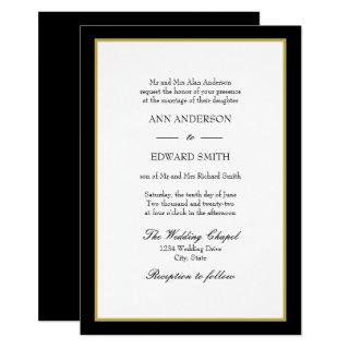 Black Gold Border - Bride Wedding Invitations