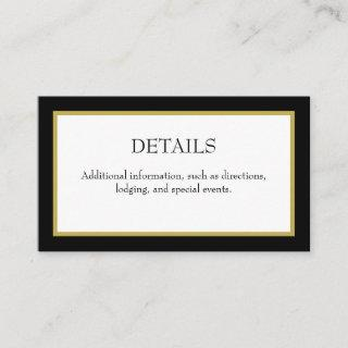 Black Gold Border Wedding Details Enclosure Card