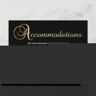Black Gold Color Wedding Accommodation Card