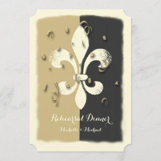 Black Gold Confetti Fleur de Lis event Invitations