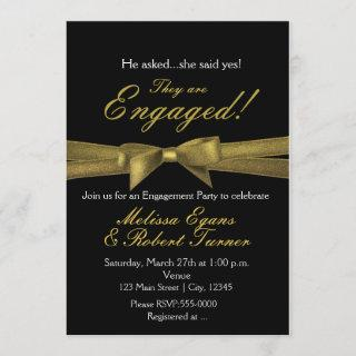 Black & Gold Engagement Chic Bow Party