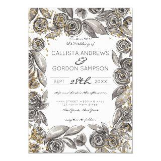 Black Gold Floral Confetti Watercolor Wedding Invitation