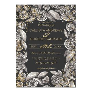 Black Gold Floral Confetti Watercolor Wedding Invitations