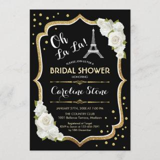 Black Gold French Style Bridal Shower Invitations