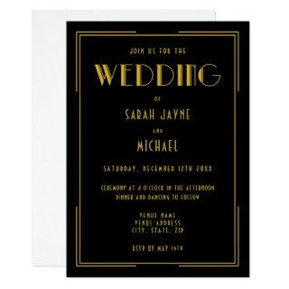 Black Gold Gatsby Deco Style Wedding Invitations