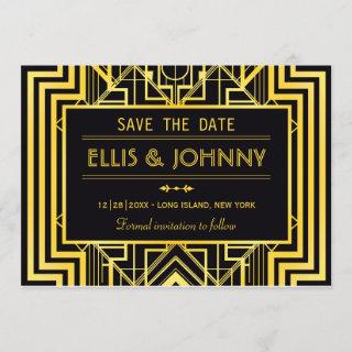 Black & Gold Geometric Save the Date