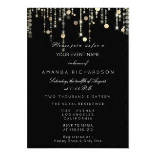 Black Gold Glitter Drips Birthday Graduation Party Invitations