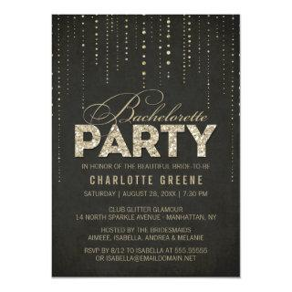 Black & Gold Glitter Look Bachelorette Party Invitation