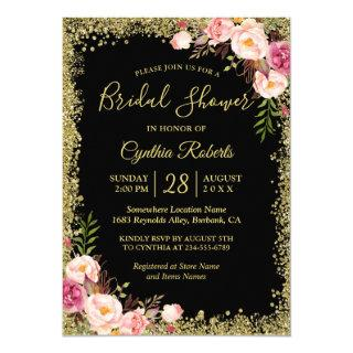Black Gold Glitters Floral Glamour Bridal Shower Invitations