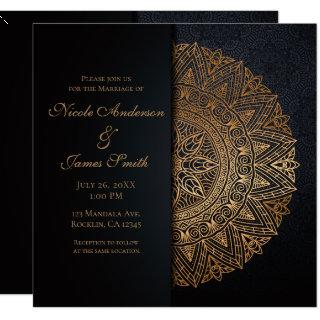 Black & Gold Mandala Elegant Wedding Marriage Invitation