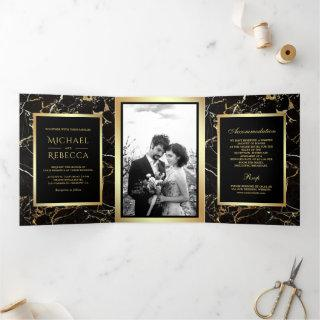 Black Gold Marble Faux Gold Foil Photo Wedding Tri-Fold Invitation