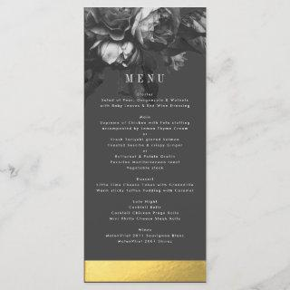 Black Gold Rose Bouquet Wedding Menu