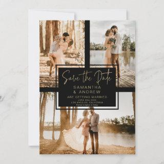 black gold save the date 3 photo grid collage
