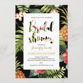 Black & Gold | Tropical Bridal Shower Invitations