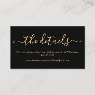 Black &Gold Wedding Details Website Enclosure Card