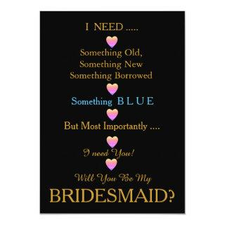 Black & Gold with Heart Will You Be my Bridesmaid Invitation