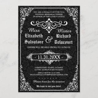 Black Gothic Victorian Damask Rehearsal Dinner Invitations